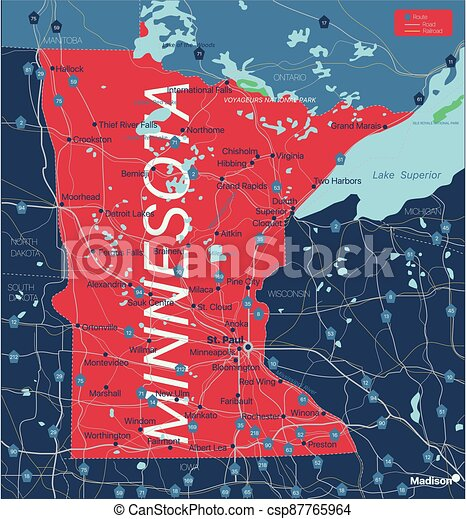 Minnesota state detailed editable map - csp87765964