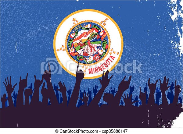 Minnesota State Flag with Audience - csp35888147