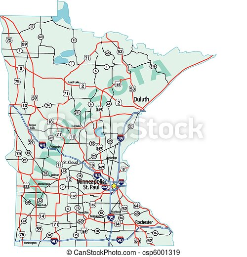 EPS Vectors Of Minnesota State Interstate Map Minnesota State - Minnesota highway map