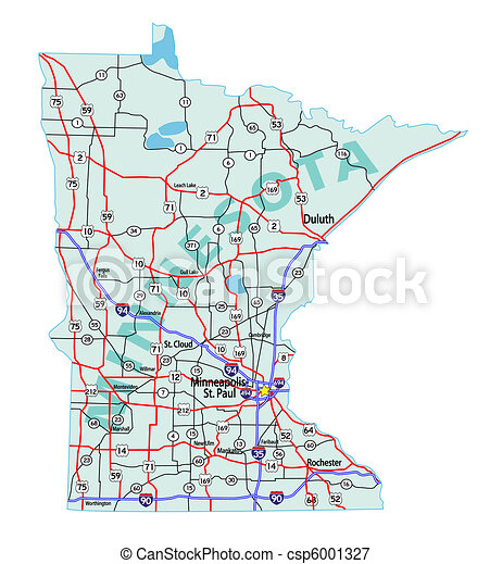 Stock Illustrations Of Minnesota State Interstate Map Minnesota - Road map of minnesota