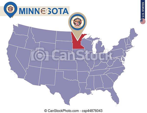 Minnesota State on USA Map. Minnesota flag and map. - csp44876043