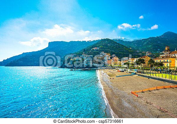 Minori Town In Amalfi Coast Beach View Italy