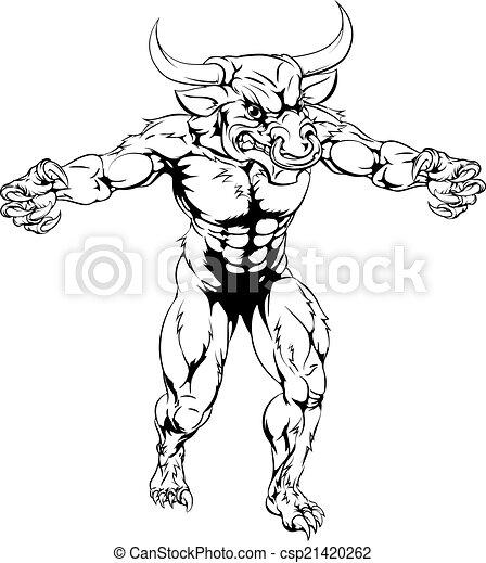 Minotaur bull scary sports mascot - csp21420262