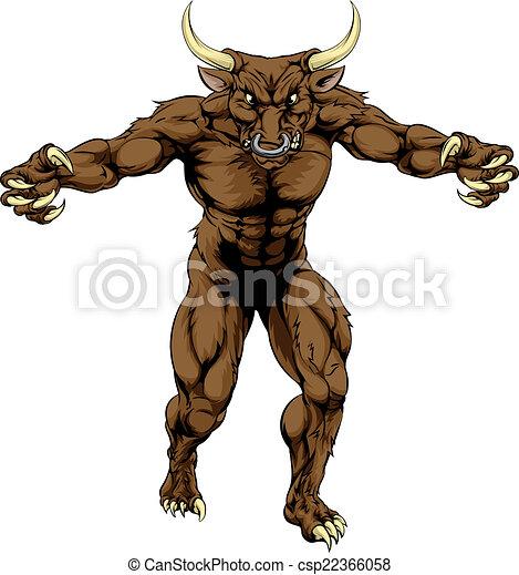 Minotaur bull scary sports mascot - csp22366058