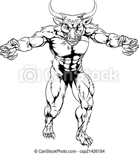 Minotaur bull scary sports mascot - csp21426184
