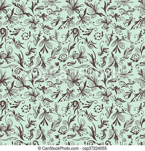 Mint And Brown Vintage Swirl Vector Pattern Cute Elegant Romantic
