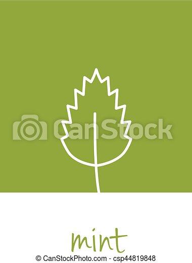 mint icon on green square - csp44819848