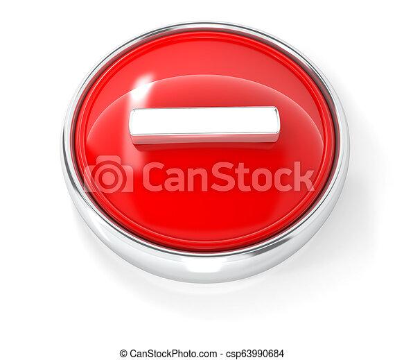 Minus icon on glossy red round button - csp63990684