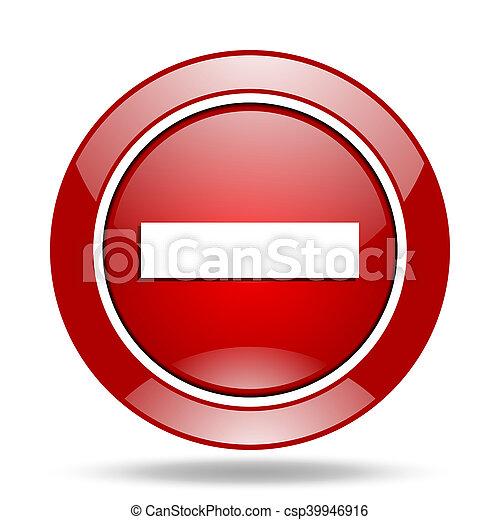 minus red web glossy round icon - csp39946916