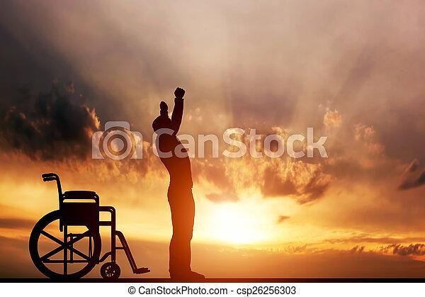 miracle., haut, homme desactivé, debout, wheelchair., monde médical, remède - csp26256303