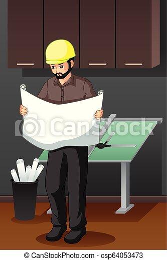Arquitecto mirando la ilustración de los planos - csp64053473