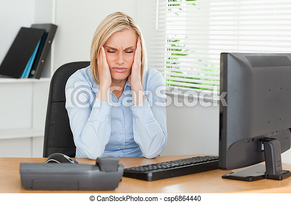 Una mujer frustrada con los ojos cerrados - csp6864440