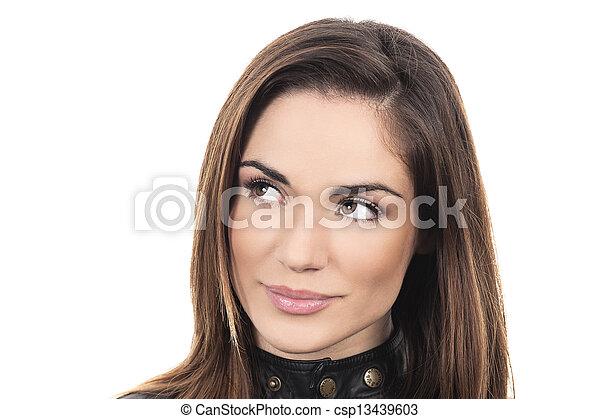 Mujer mirando hacia arriba - csp13439603