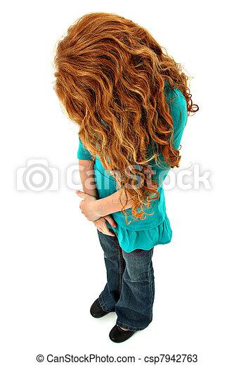 mirar, no, niño, joven, triste, abajo, caras, niña - csp7942763