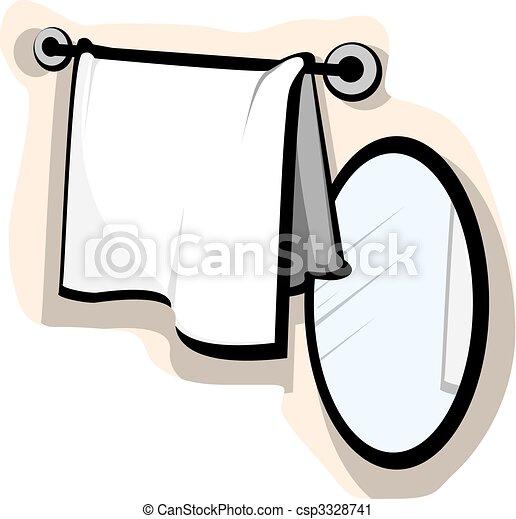 Mirror and wash cloth - csp3328741