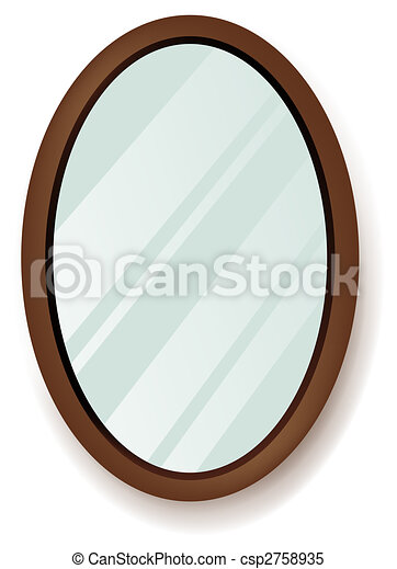 Drawing Of Beautiful Mirror In A White Background
