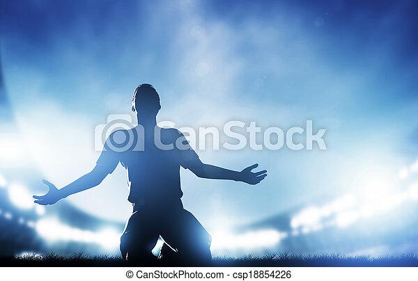 misét celebráló, gól, labdarúgás, játékos, diadal, match., futball - csp18854226