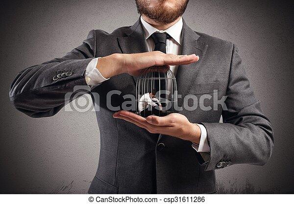 mis cage, homme affaires - csp31611286