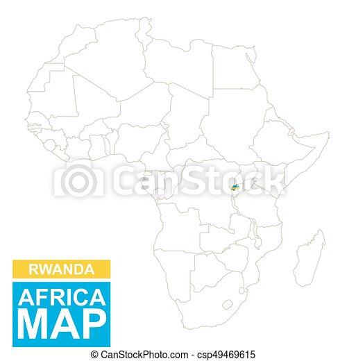 Carte Afrique Vectorielle.Mis Valeur Carte Afrique Rwanda Contoured