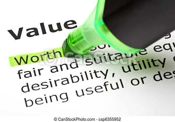 mis valeur, 'value', 'worth', sous - csp6355952