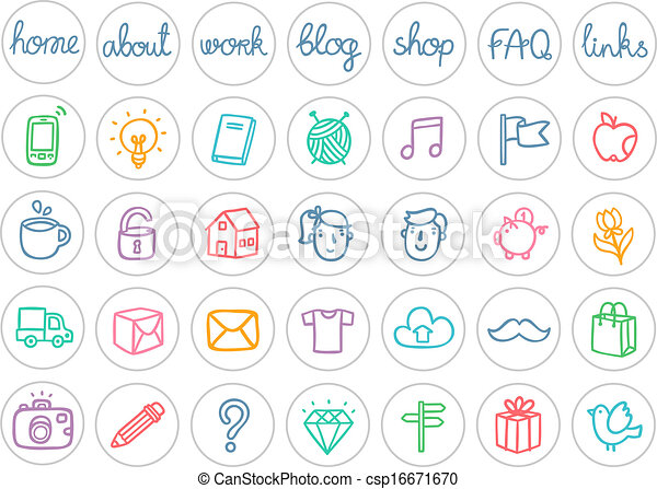 Miscellaneous doodle icons color on white - csp16671670