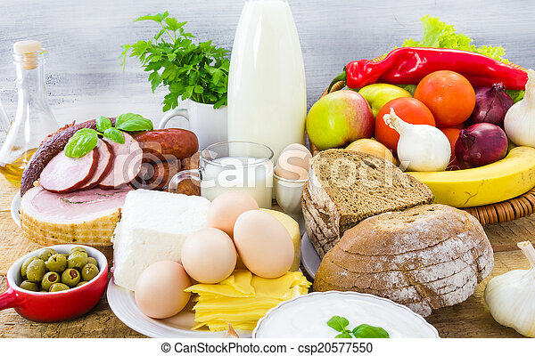 Miscellaneous food dairy products  bread meat - csp20577550