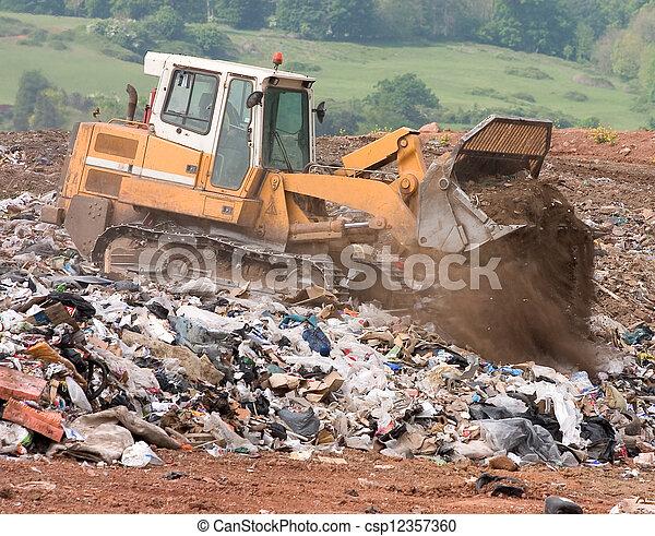 mise en décharge, bulldozer, site - csp12357360