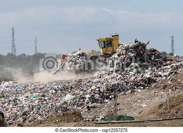 mise en décharge, bulldozer, site - csp12357275