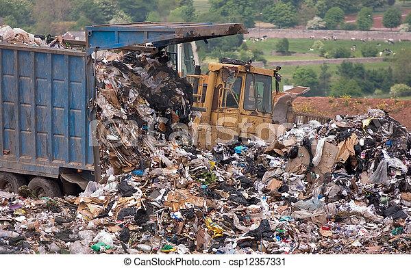 mise en décharge, déchargé, site, déchets - csp12357331