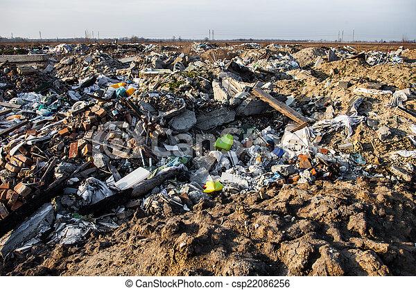 mise en décharge, déchets - csp22086256