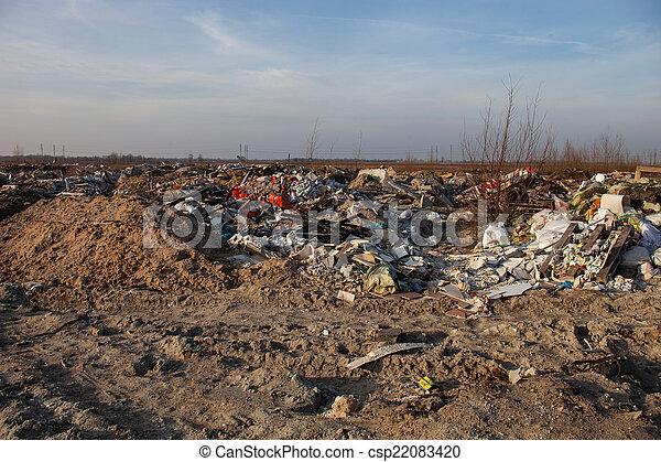 mise en décharge, déchets - csp22083420