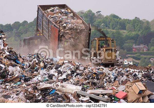mise en décharge, dumping, pointe, déchets - csp12342791