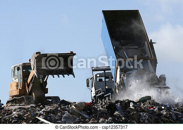 mise en décharge, véhicules, site, fonctionnement - csp12357317