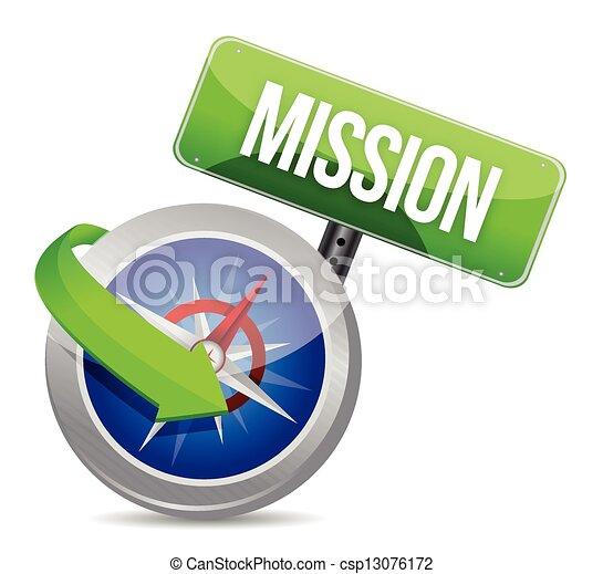 Misión en una brújula - csp13076172