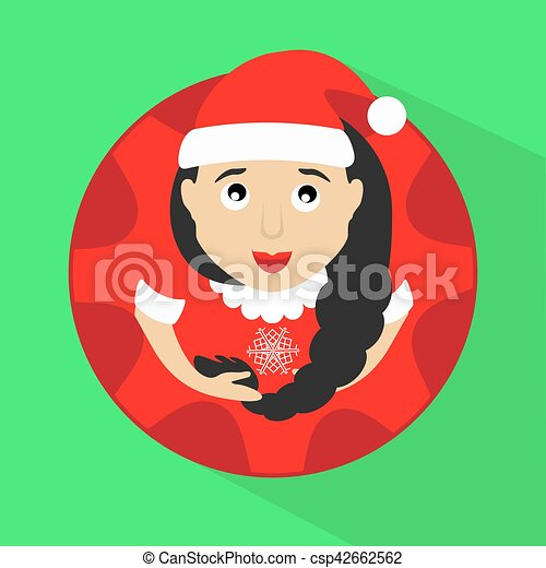 miss claus santa with snowflakes round button to click on a green background vector - csp42662562