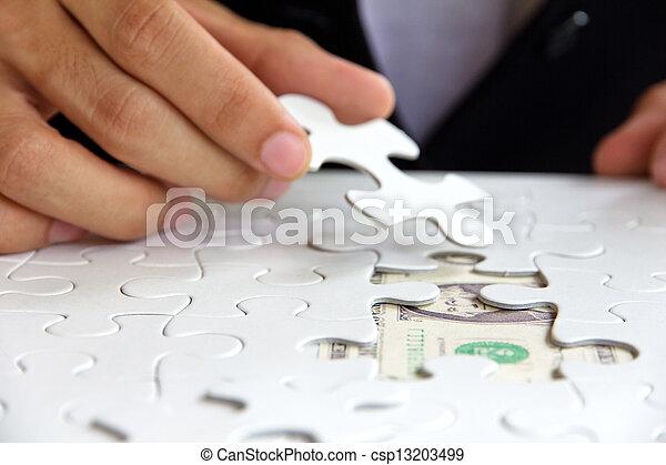 missing puzzle piece, money concept - csp13203499