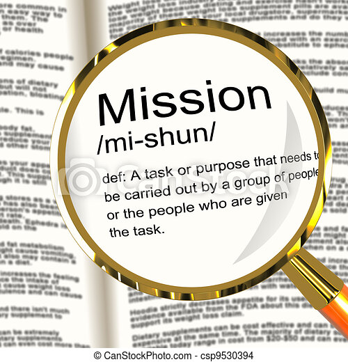 Mission Definition Magnifier Shows Task Goal Or Assignment To Be Done - csp9530394