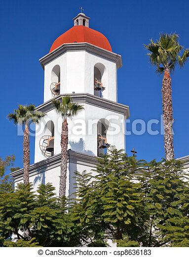 Mission San Juan Capistrano Basilica Steeple Church California  - csp8636183