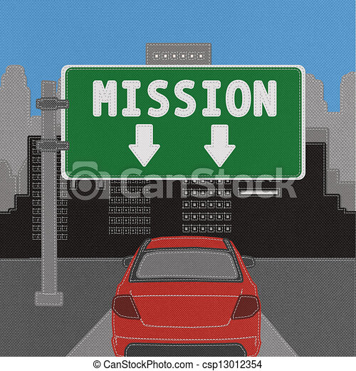Mission sign concept with stitch style on fabric background - csp13012354