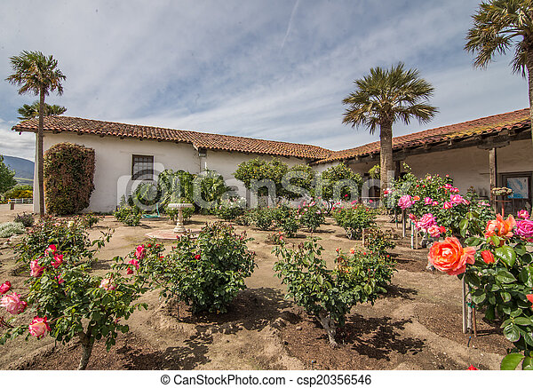 Mission Soledad rose garden - csp20356546