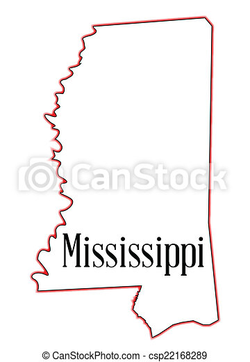 Vector Of Mississippi State Map Outline Of Mississippi Over A - State of mississippi map