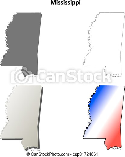 Mississippi State Map Outline.Mississippi Outline Map Set Mississippi State Blank Vector Outline
