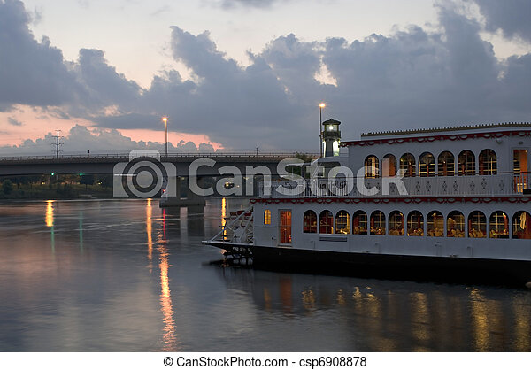 Mississippi River and Boat at Sundown - csp6908878