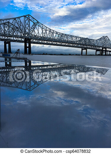 Mississippi River Bridge reflection - csp64078832