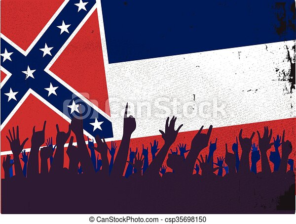 Mississippi State Flag with Audience - csp35698150