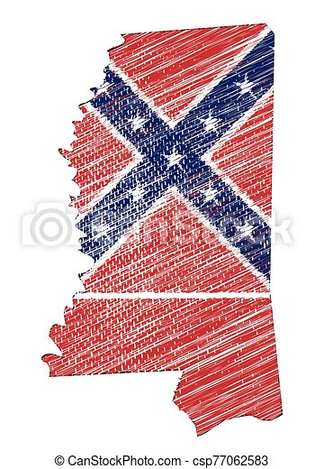 Mississippi State Grunge Map Outline and Flag - csp77062583