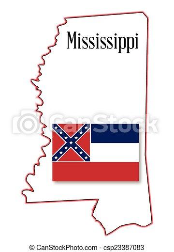 Mississippi State Map Outline.Mississippi State Map And Flag State Map Outline Of Mississippi