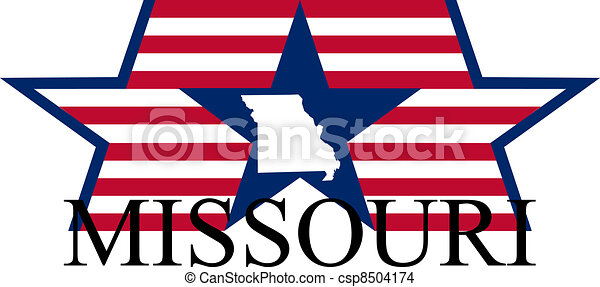 Missouri state map, flag, and name.