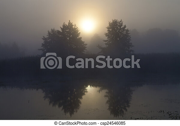 Mist over the lake - csp24546085