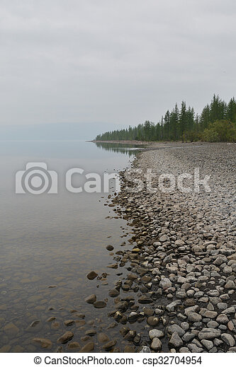 Mist over the lake. - csp32704954